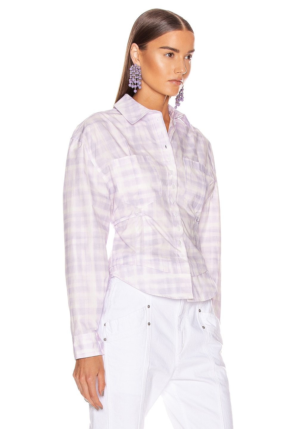 Image 2 of JACQUEMUS La Chemise Cueillette in Print Purple Checked