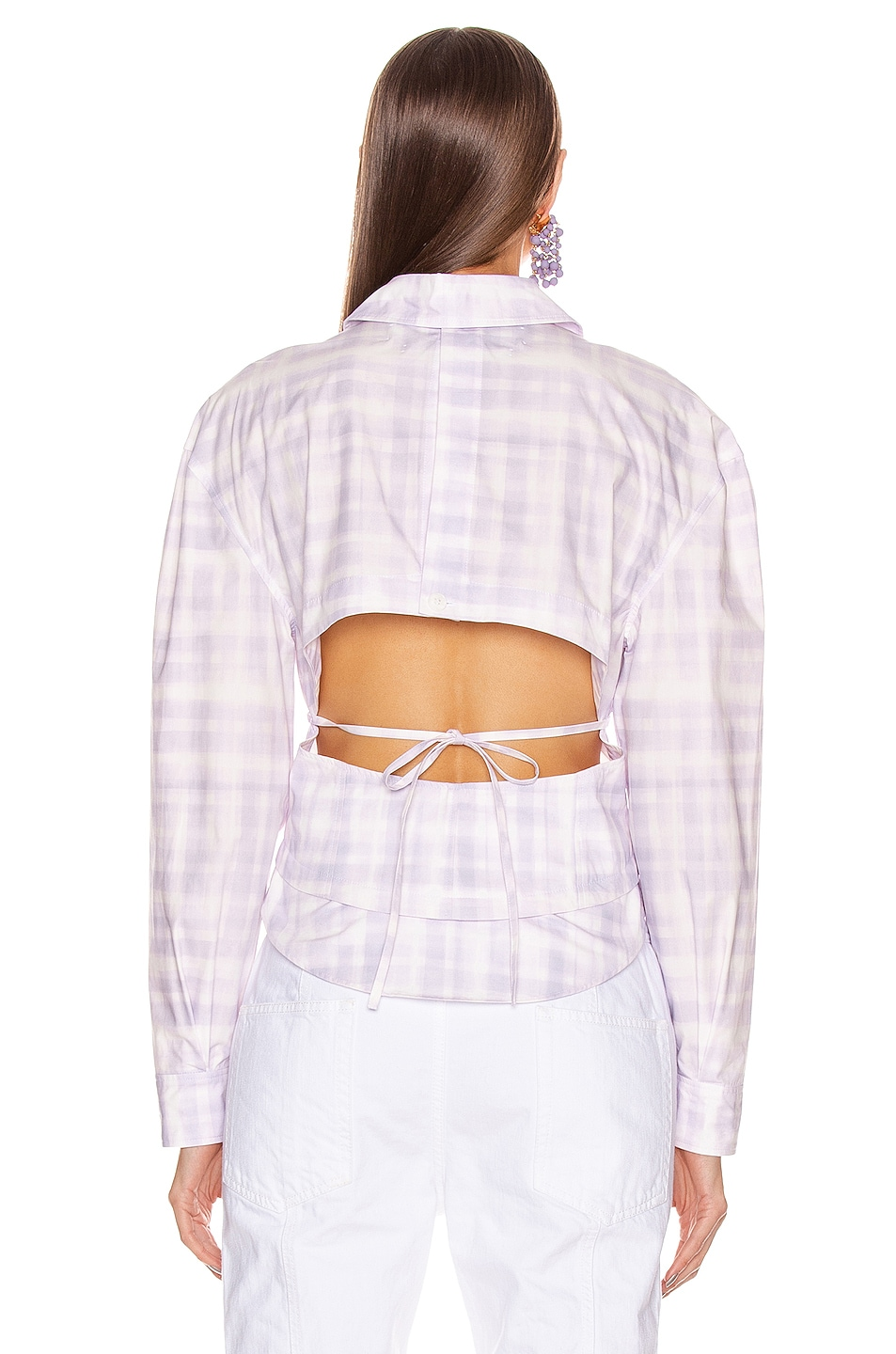 Image 3 of JACQUEMUS La Chemise Cueillette in Print Purple Checked