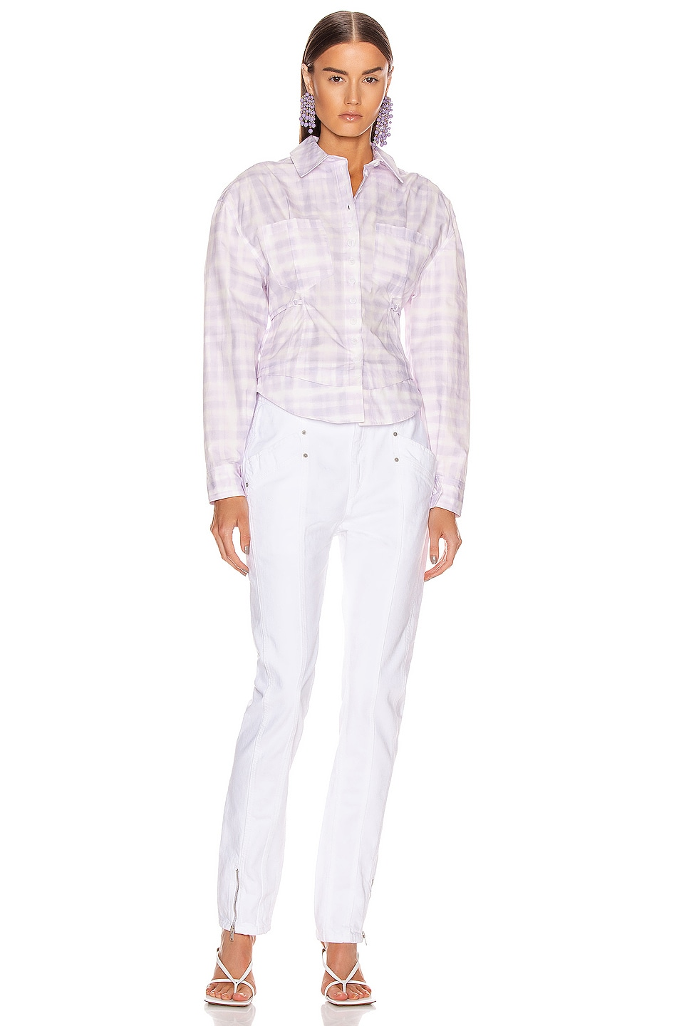 Image 4 of JACQUEMUS La Chemise Cueillette in Print Purple Checked