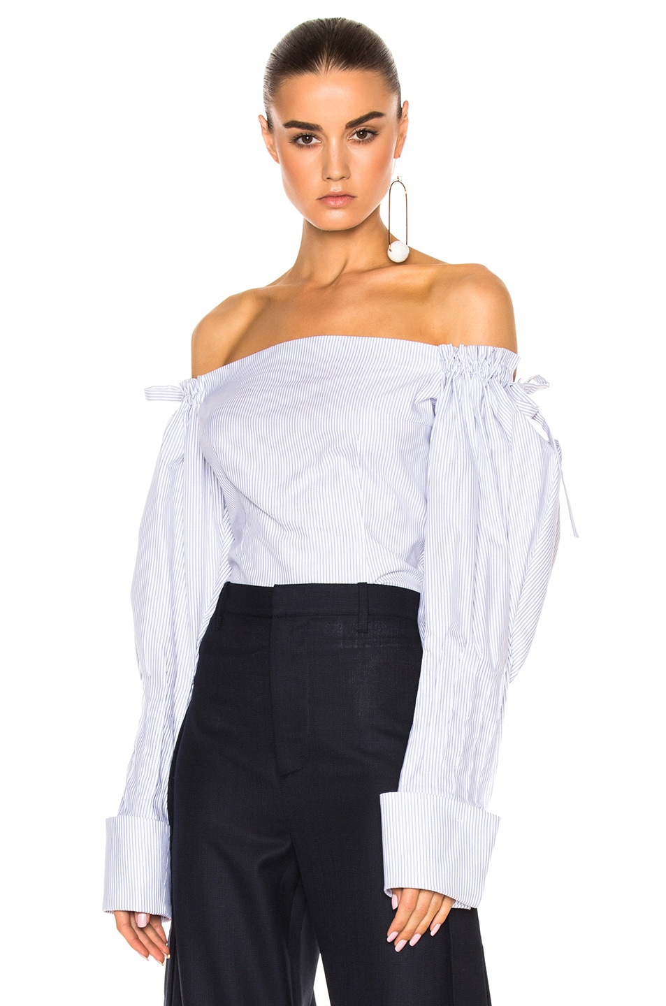 f96f10c314 Image 1 of JACQUEMUS Off The Shoulder Top in Blue Stripe & White