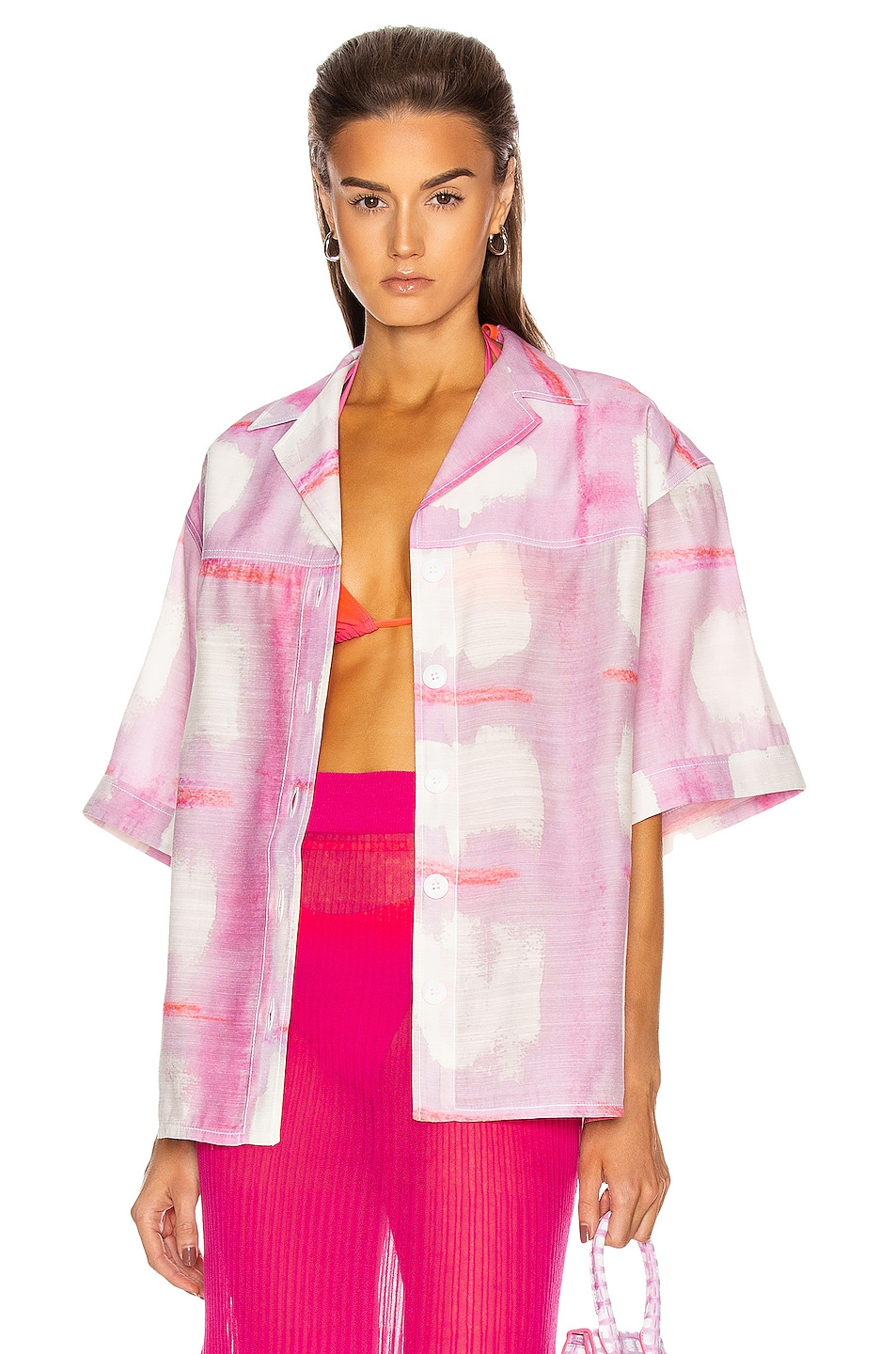 Image 1 of JACQUEMUS La Chemise Vallena in Print Pink Checked