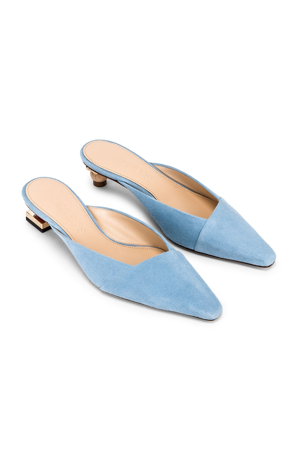 Image 1 of JACQUEMUS Maceio Mules in Light Blue Suede