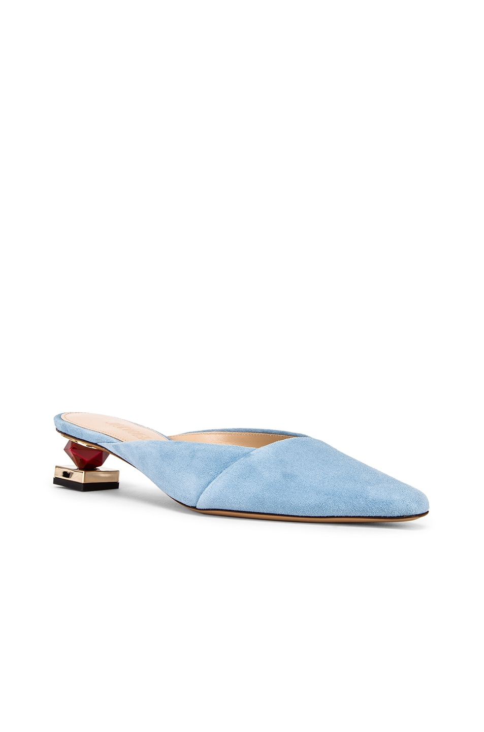 Image 3 of JACQUEMUS Maceio Mules in Light Blue Suede