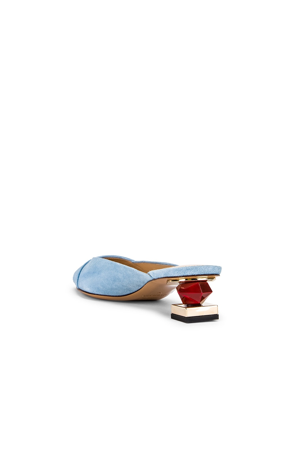 Image 4 of JACQUEMUS Maceio Mules in Light Blue Suede