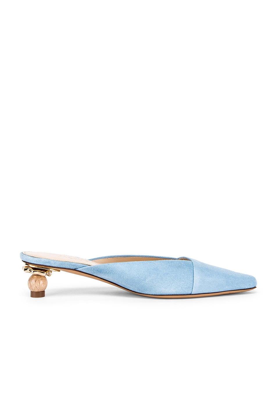 Image 6 of JACQUEMUS Maceio Mules in Light Blue Suede