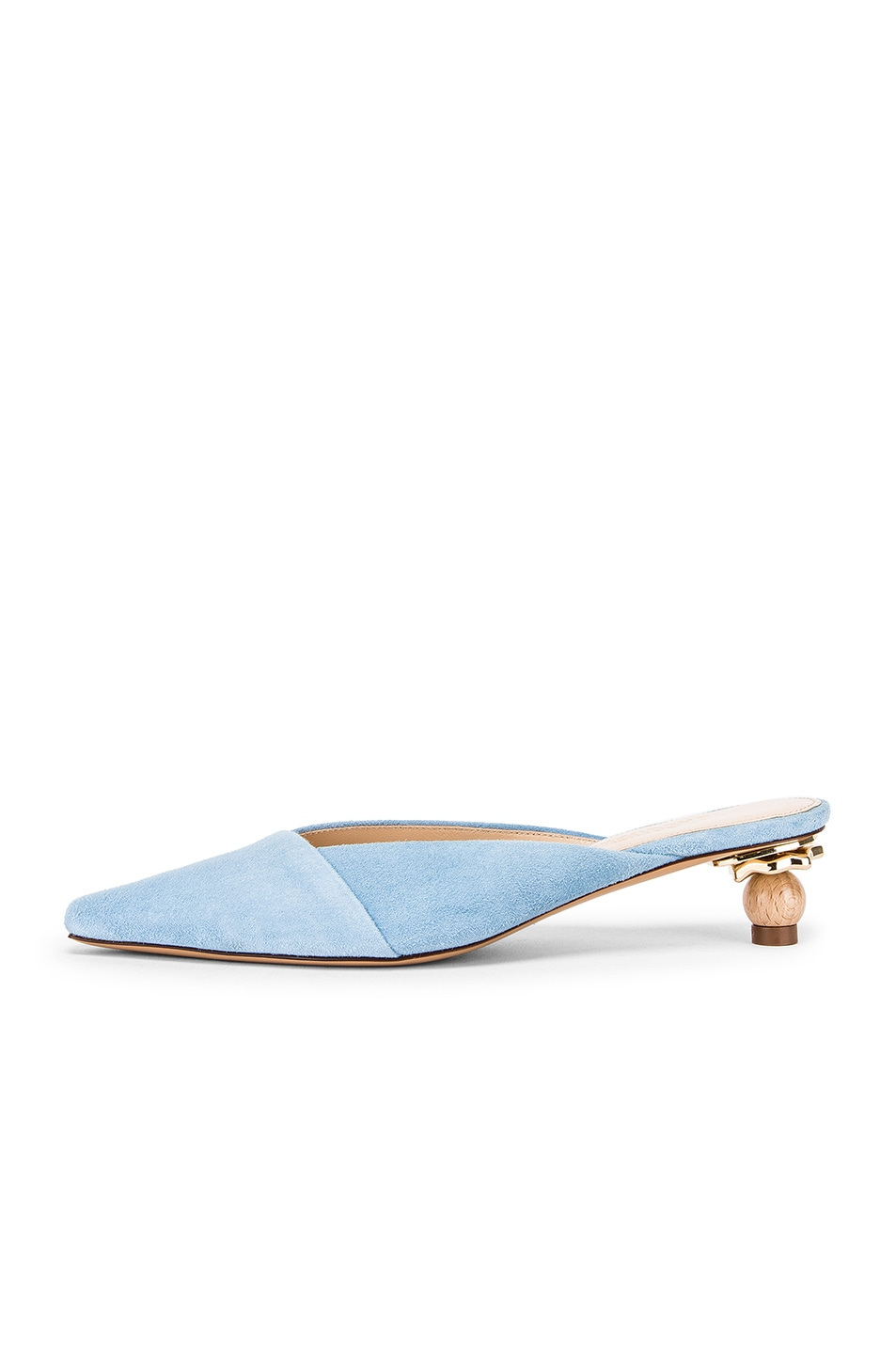 Image 7 of JACQUEMUS Maceio Mules in Light Blue Suede