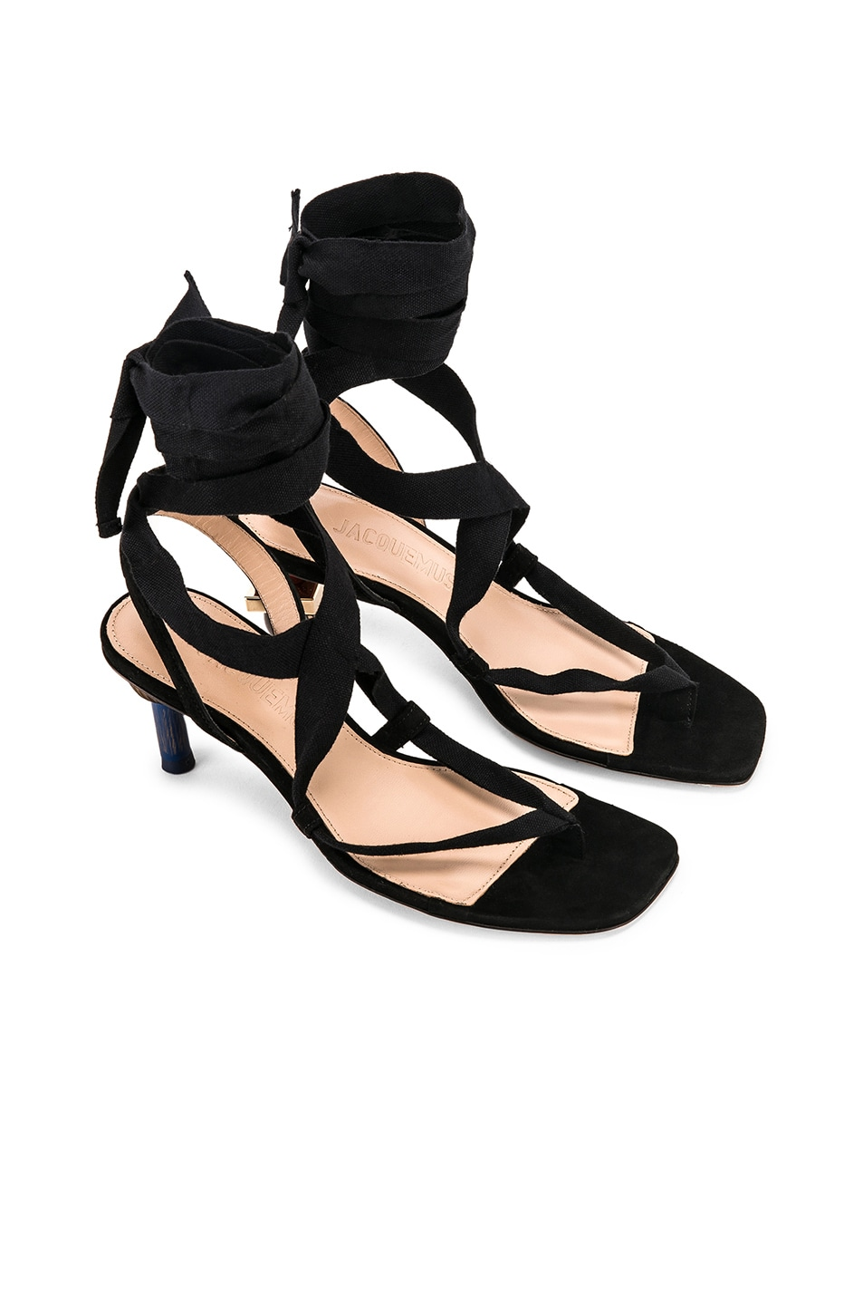 Image 1 of JACQUEMUS Capri Sandals in Black Suede