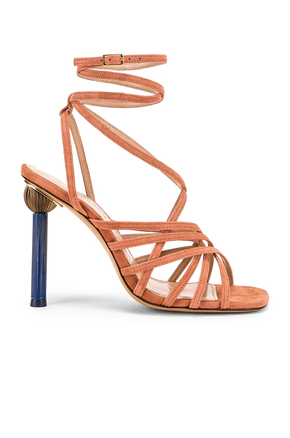 Image 2 of JACQUEMUS Pisa Sandals in Dark Nude Suede