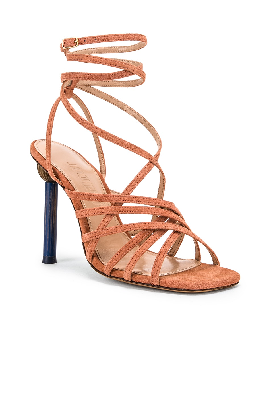 Image 3 of JACQUEMUS Pisa Sandals in Dark Nude Suede