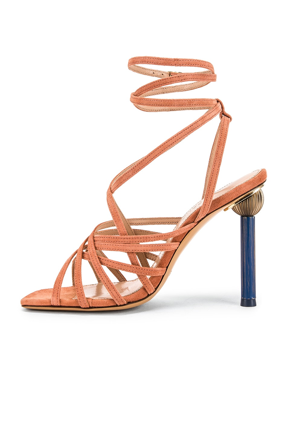 Image 5 of JACQUEMUS Pisa Sandals in Dark Nude Suede