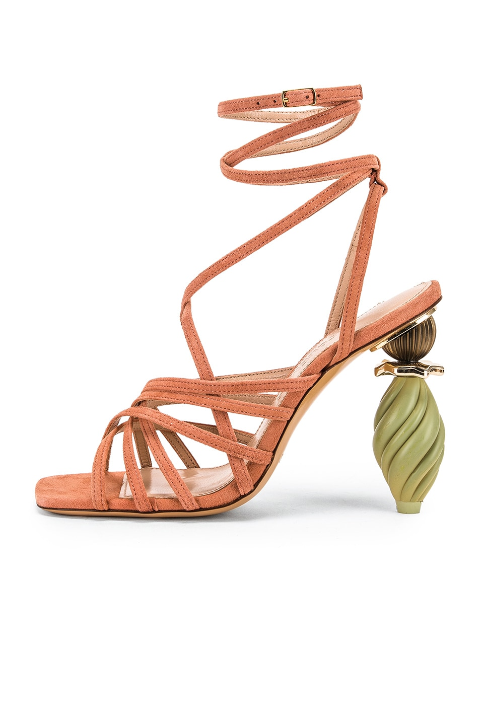 Image 7 of JACQUEMUS Pisa Sandals in Dark Nude Suede