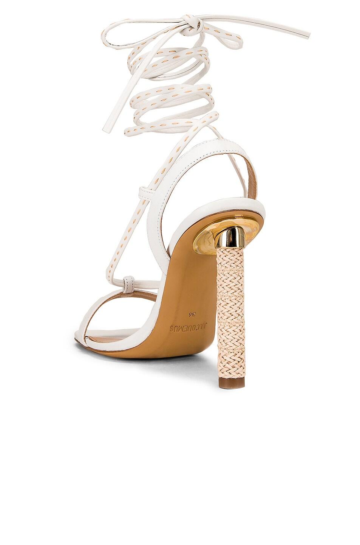 Image 3 of JACQUEMUS Bergamo Sandals in White Leather