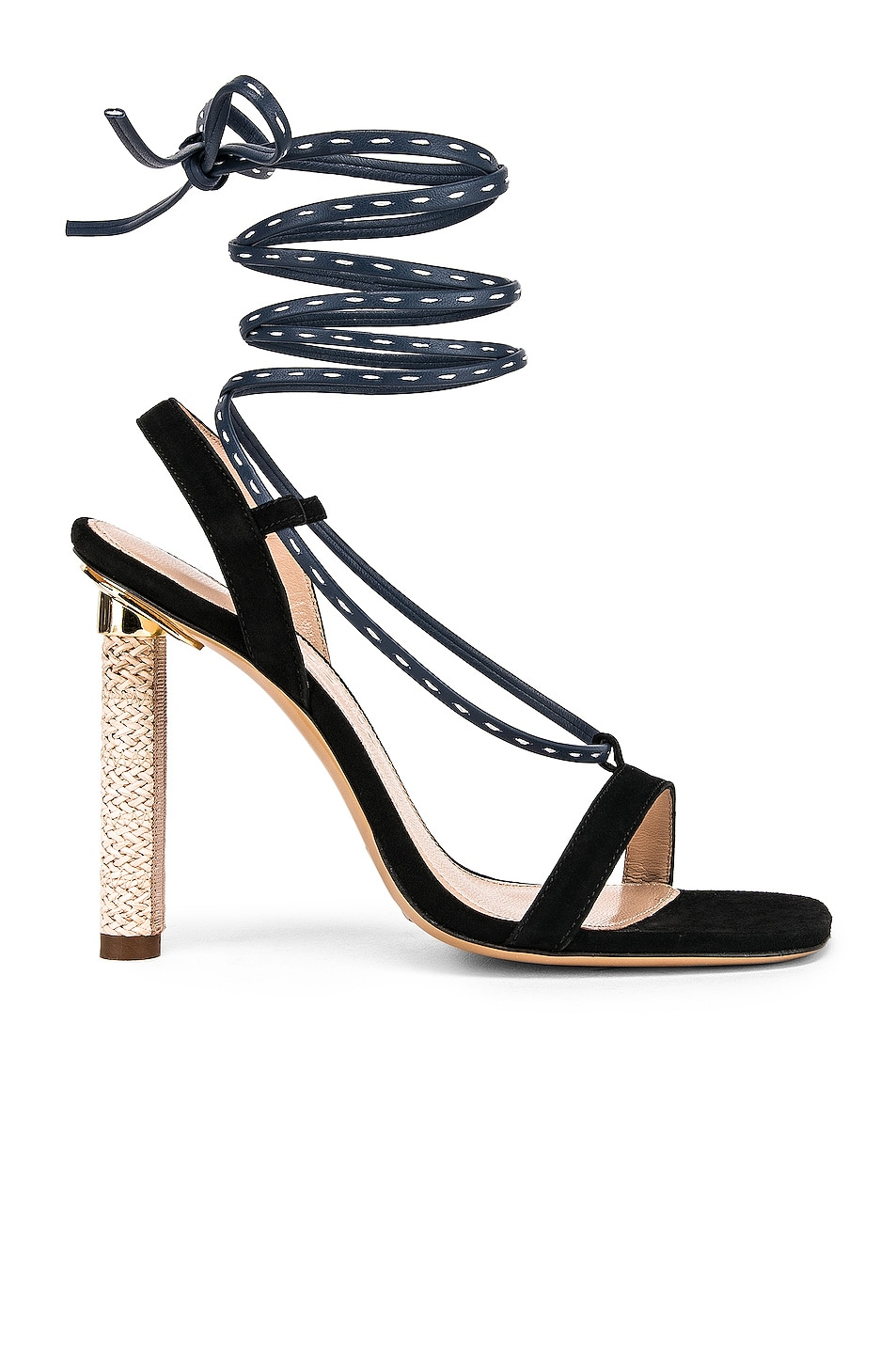 Image 1 of JACQUEMUS Bergamo Sandals in Navy Leather