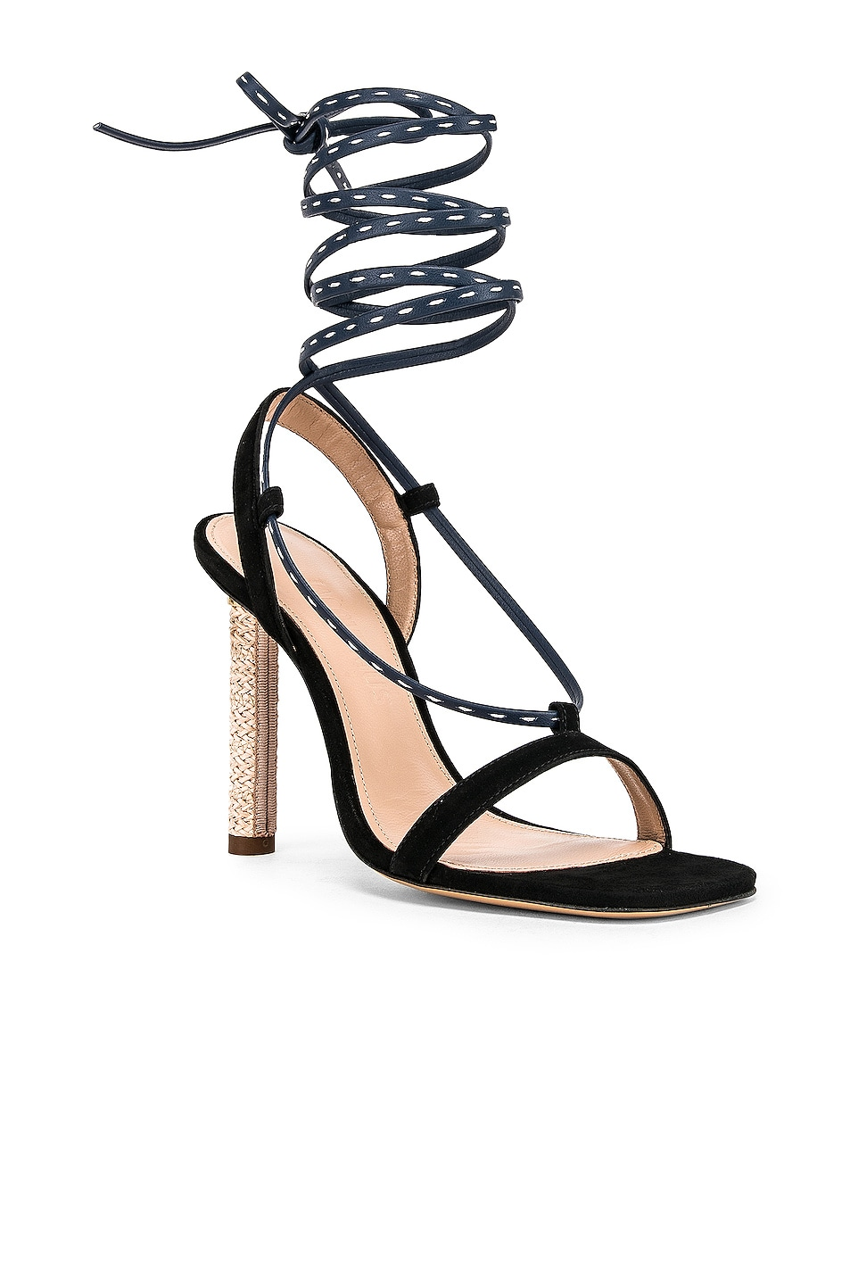 Image 2 of JACQUEMUS Bergamo Sandals in Navy Leather