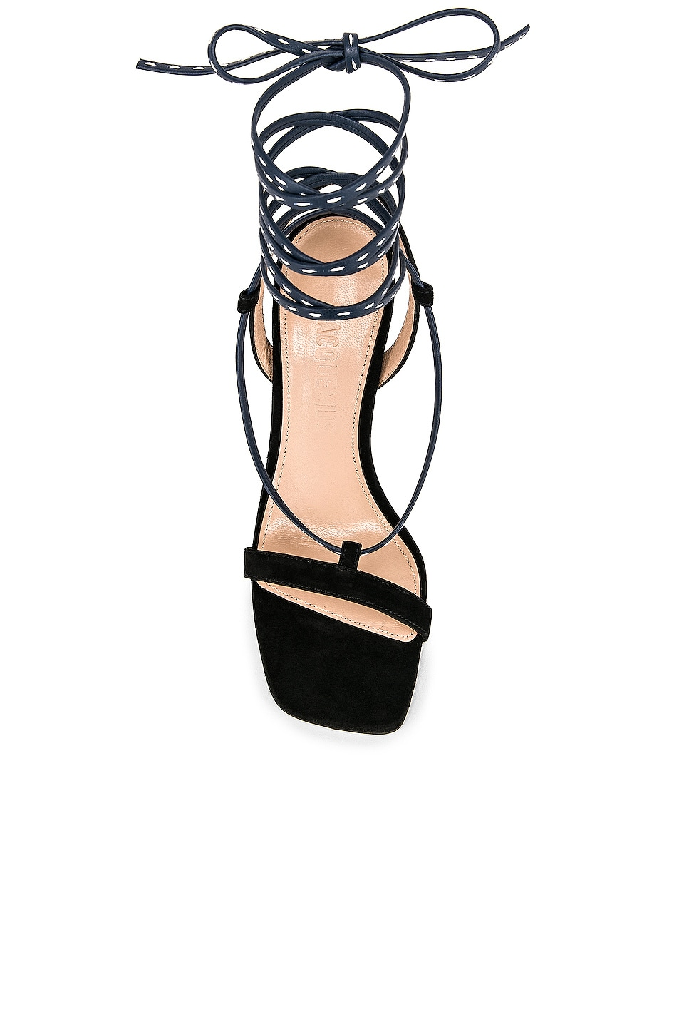 Image 4 of JACQUEMUS Bergamo Sandals in Navy Leather