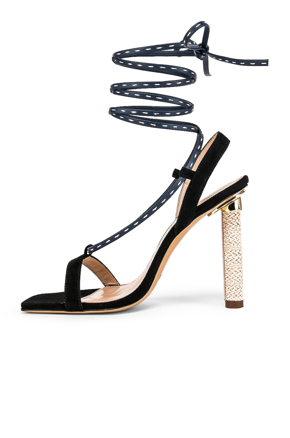 Image 5 of JACQUEMUS Bergamo Sandals in Navy Leather
