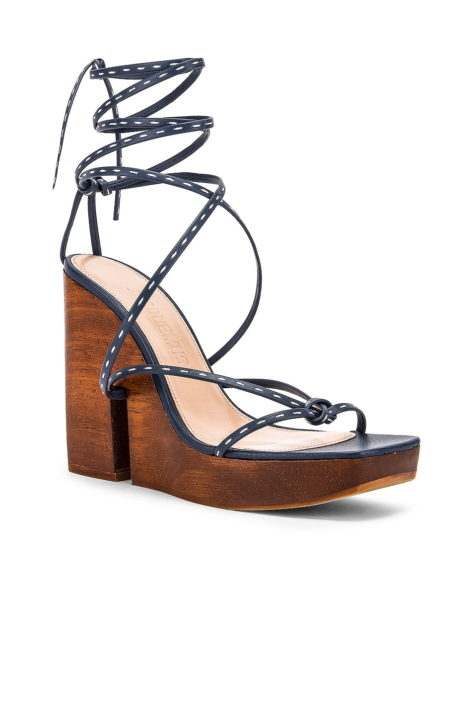 Image 2 of JACQUEMUS Pilotis Sandal in Navy
