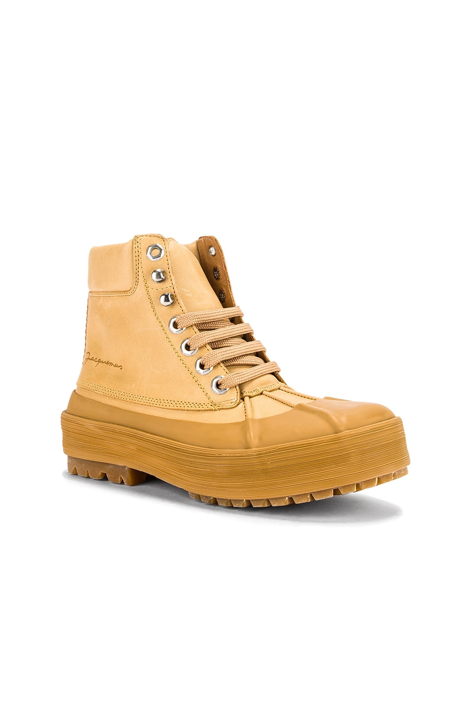 Image 2 of JACQUEMUS High Top Boot in Camel