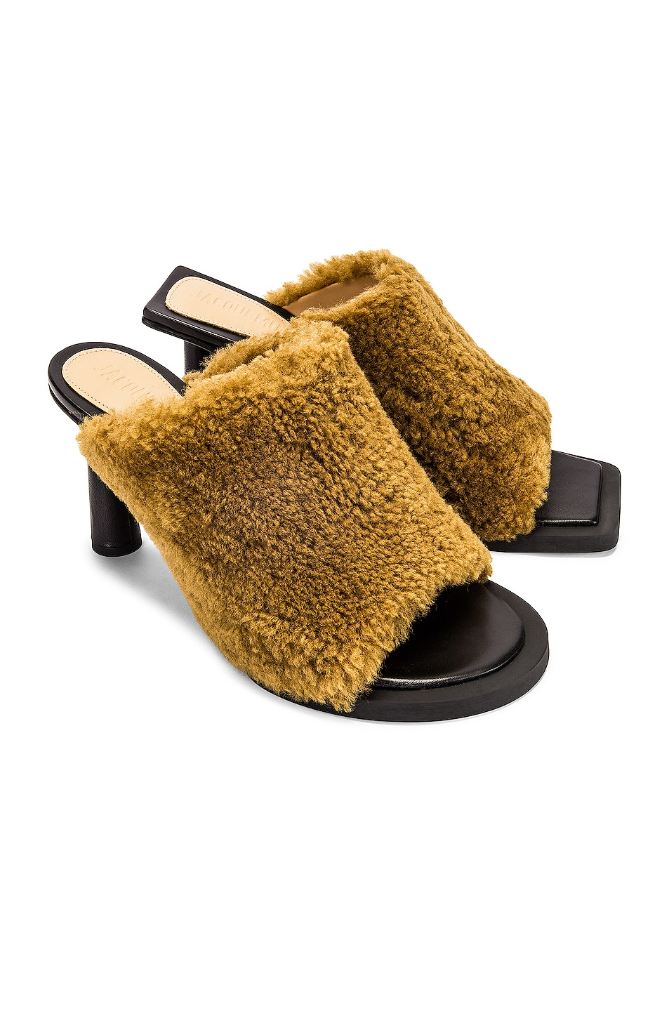 Image 1 of JACQUEMUS Les Mules Carre Rond in Khaki Shearling