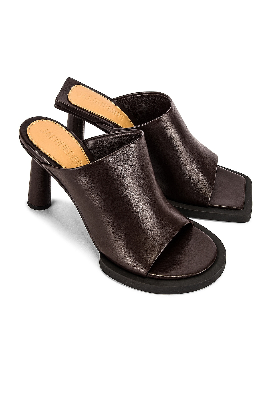 Image 1 of JACQUEMUS Les Mules Carre Rond in Dark Brown