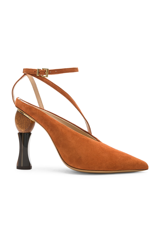 Image 1 of JACQUEMUS Suede Faya Heels in Terracotta Suede