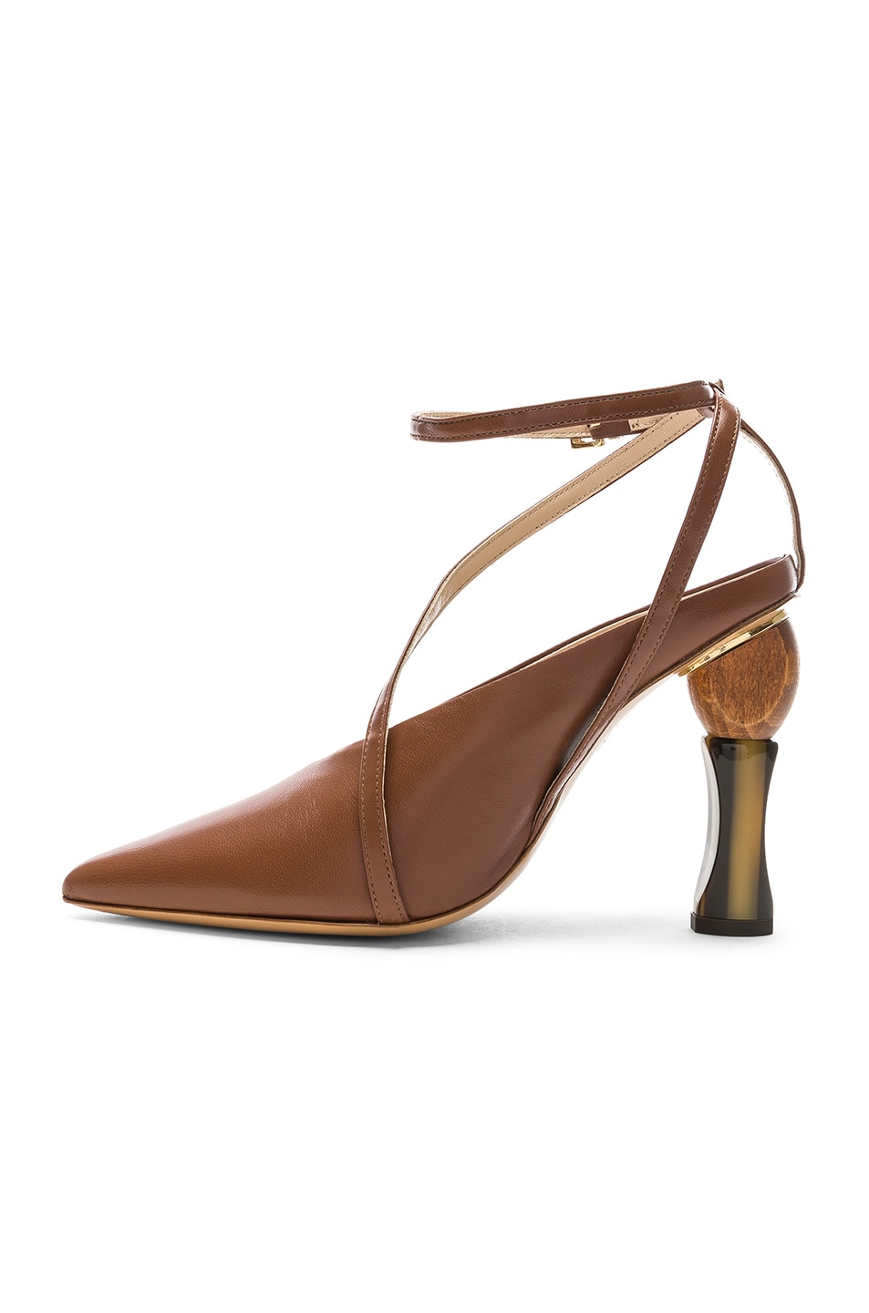 JACQUEMUS Leather Faya Heels Brown Leather durable service