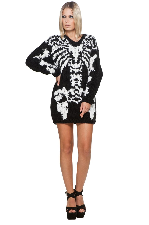 Image 1 of Jeremy Scott Skeleton Big Sweater in Black/White