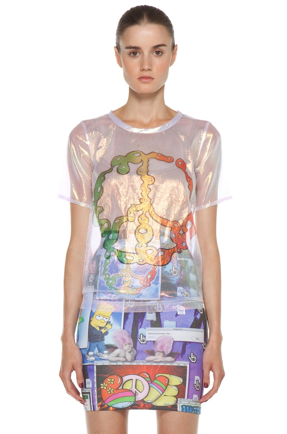 Image 1 of Jeremy Scott Liquid Peace Sign Tee in Holography