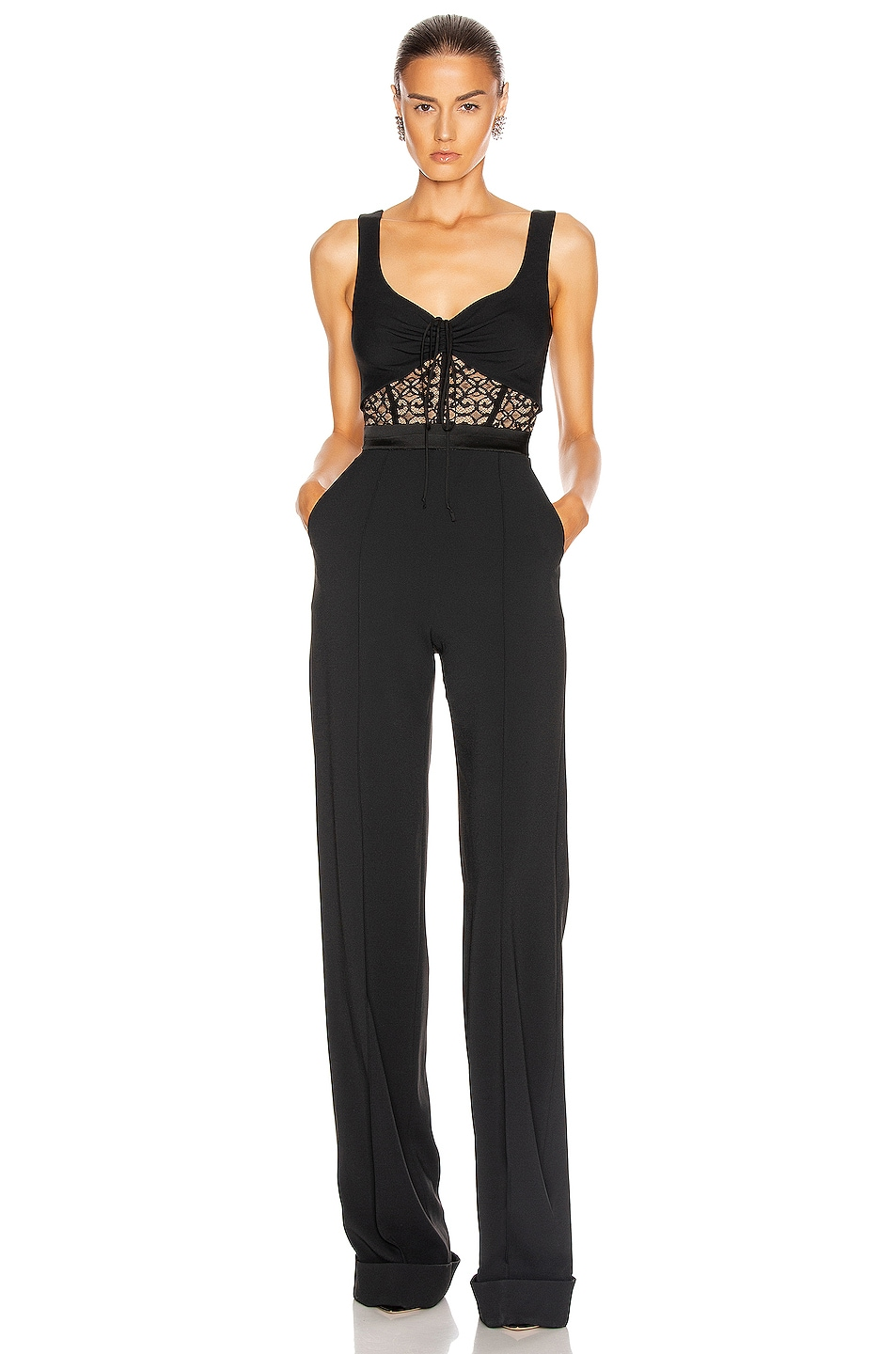 Image 1 of JONATHAN SIMKHAI Arden Lace Jumpsuit in Black