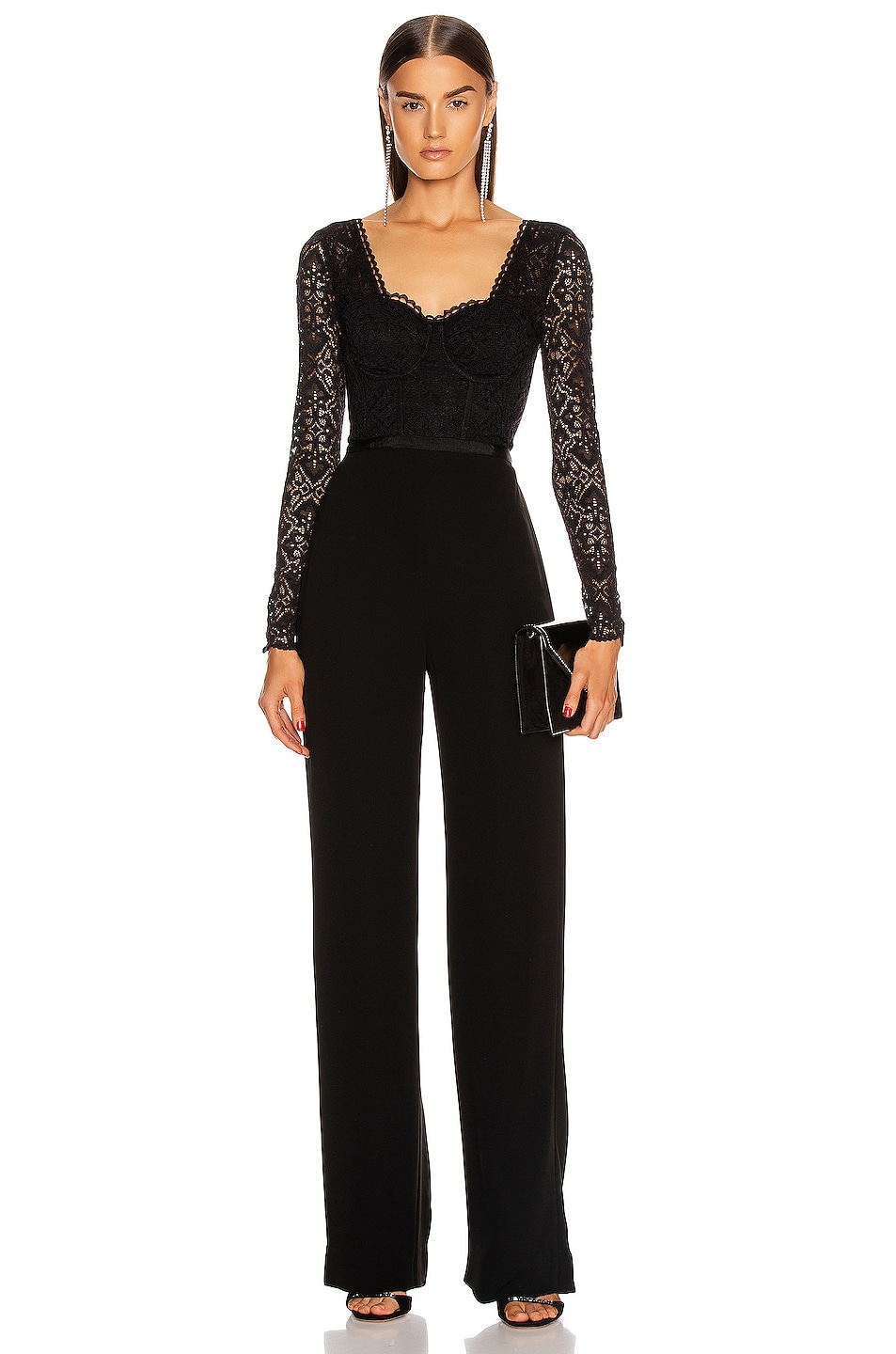Image 1 of JONATHAN SIMKHAI Lace Bustier Jumpsuit in Black
