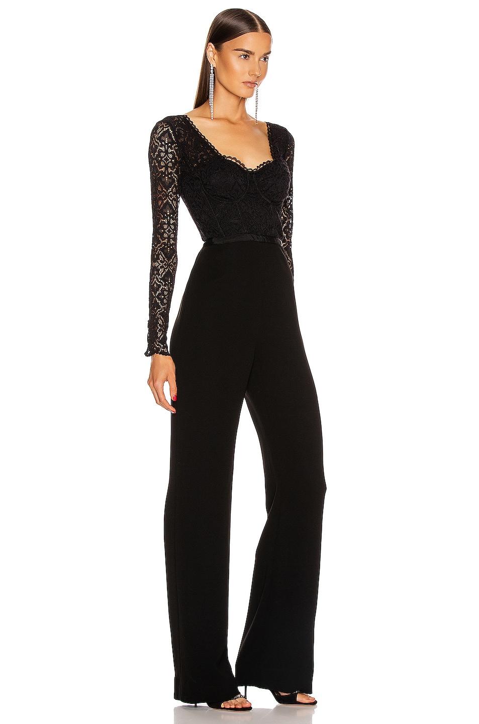 Image 2 of JONATHAN SIMKHAI Lace Bustier Jumpsuit in Black