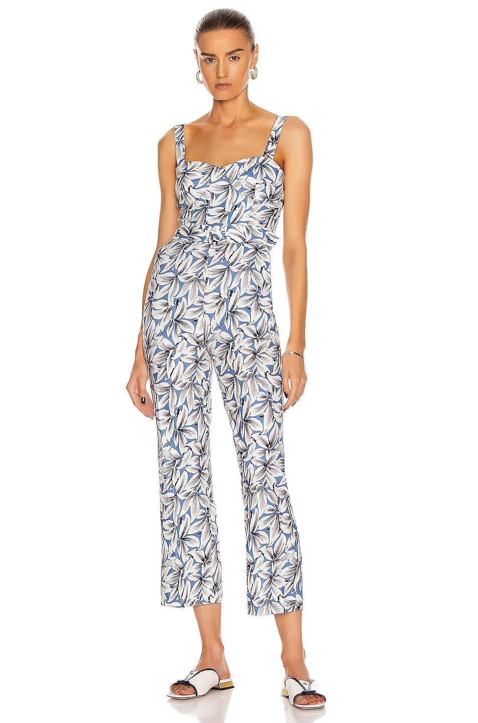 Image 1 of JONATHAN SIMKHAI Harper Belted Jumpsuit in Pacific Print