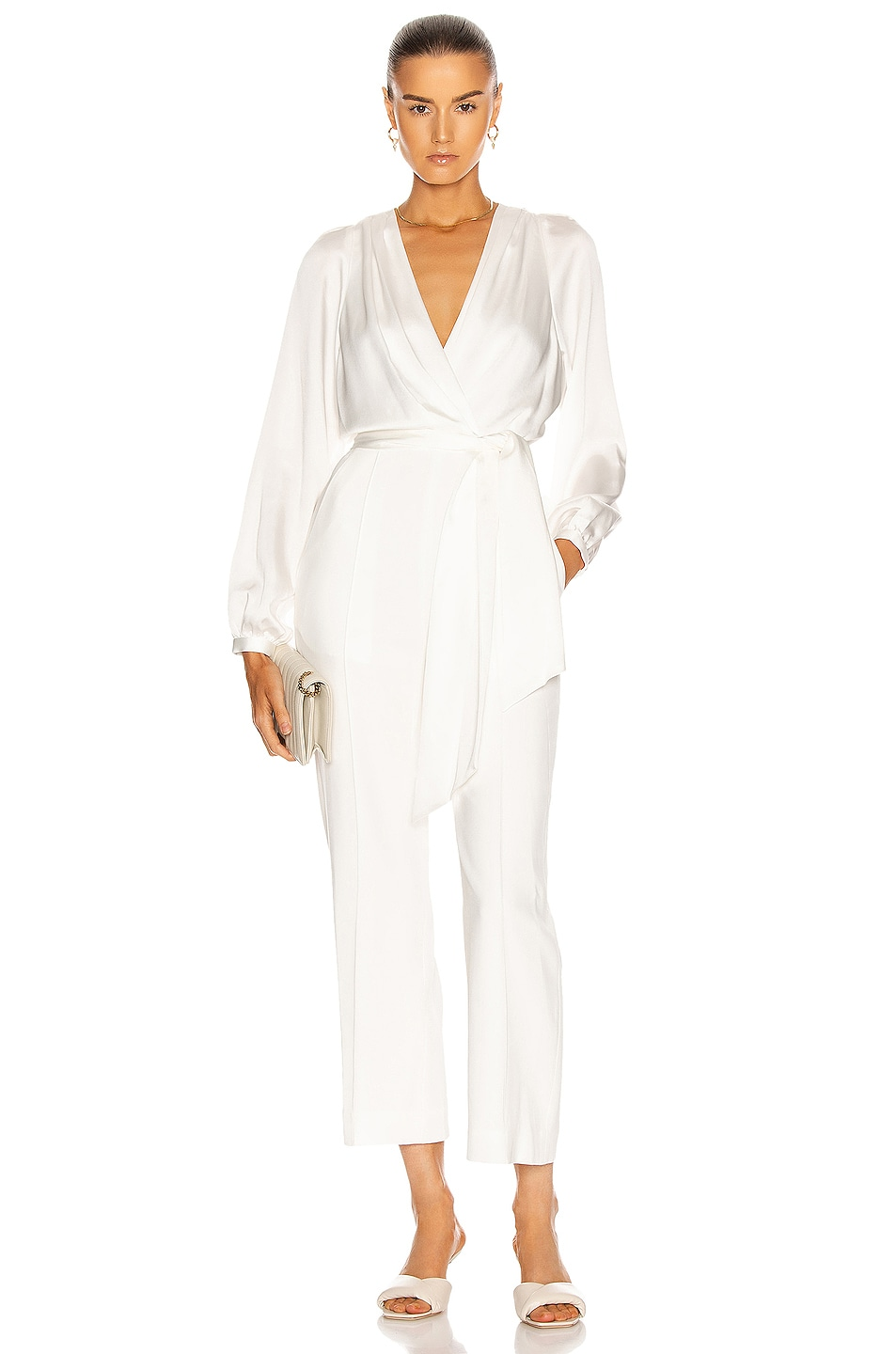 Image 1 of JONATHAN SIMKHAI Piper Combo Wrap Jumpsuit in White