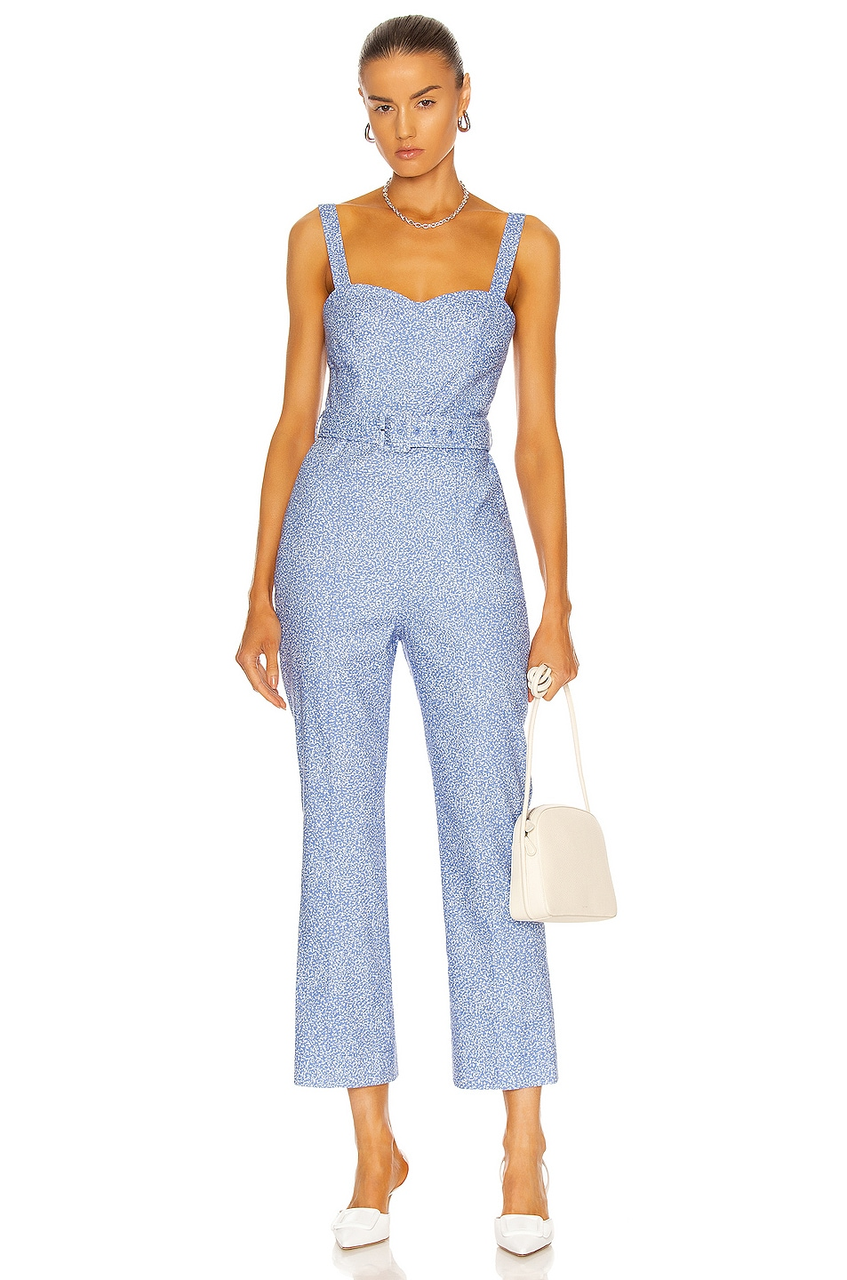 Image 1 of JONATHAN SIMKHAI Harper Jumpsuit in Cerulean Abstract Floral