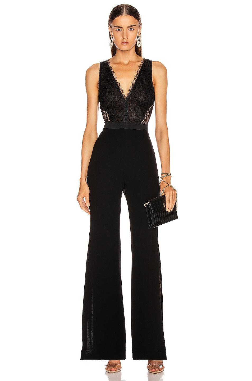 Image 2 of JONATHAN SIMKHAI Sateen Lingerie Lace Jumpsuit in Black