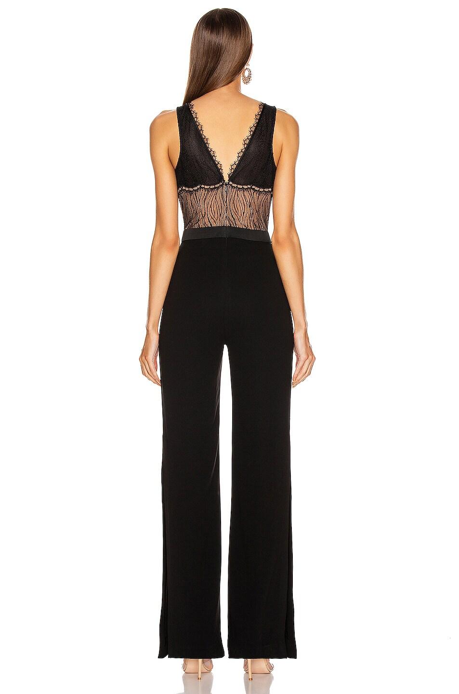 Image 4 of JONATHAN SIMKHAI Sateen Lingerie Lace Jumpsuit in Black