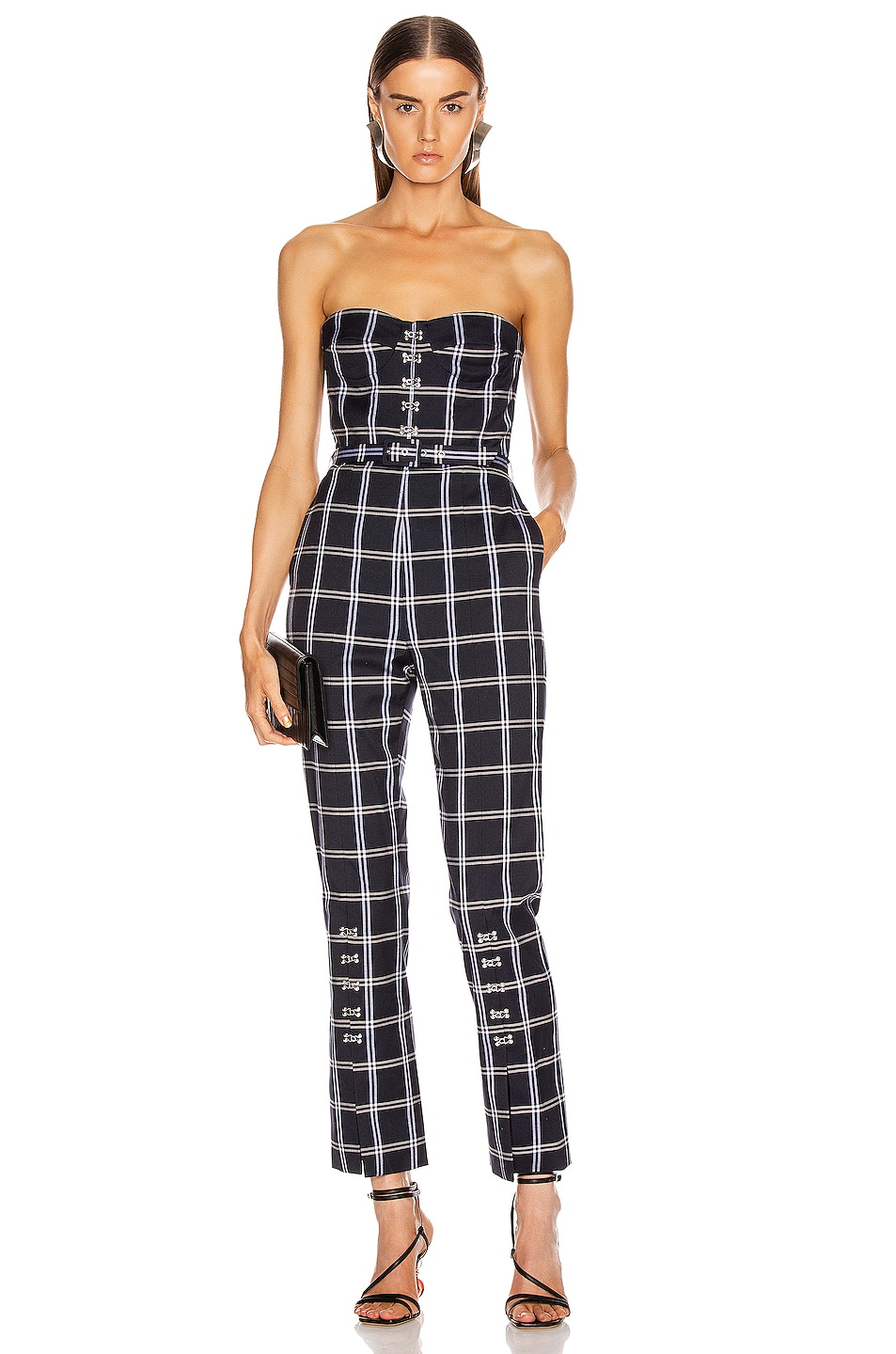Image 1 of JONATHAN SIMKHAI Windowpane Bustier Jumpsuit in Midnight Combo