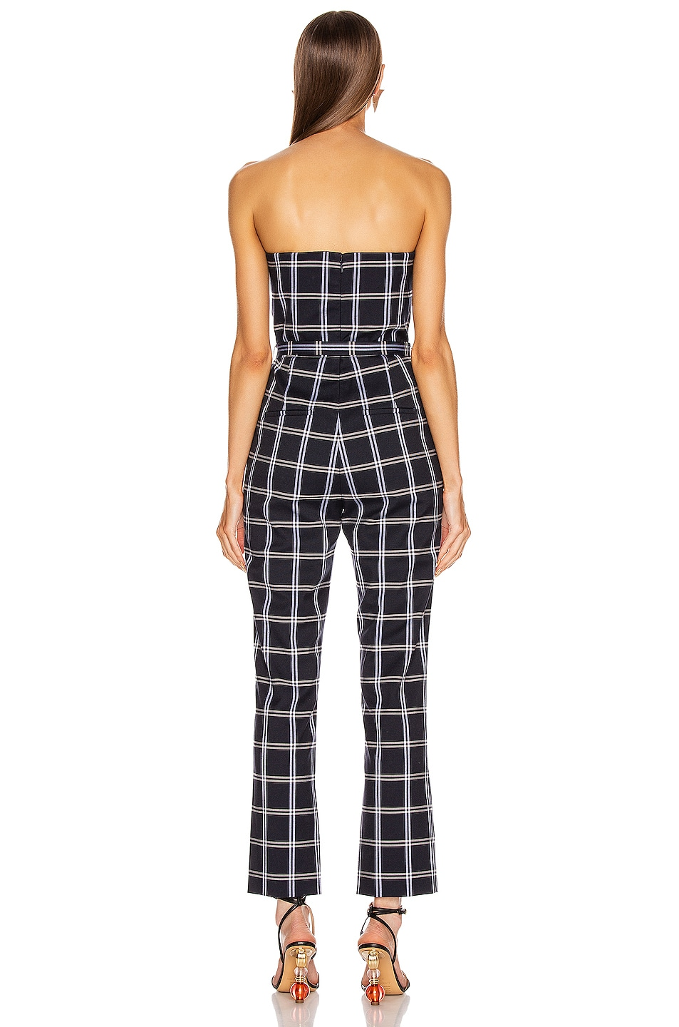 Image 4 of JONATHAN SIMKHAI Windowpane Bustier Jumpsuit in Midnight Combo
