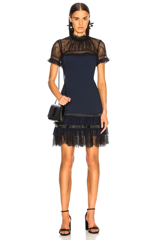 Image 1 of JONATHAN SIMKHAI Mockneck Mini Dress in Midnight & Black