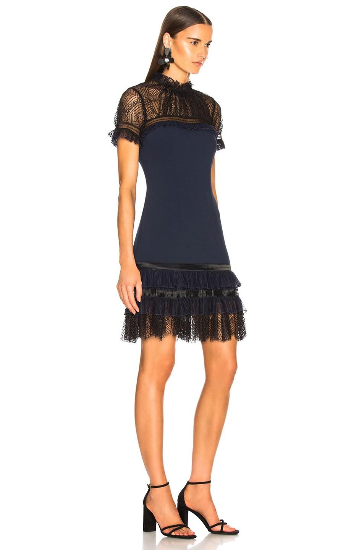 Image 2 of JONATHAN SIMKHAI Mockneck Mini Dress in Midnight & Black