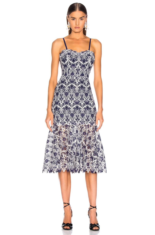 Image 2 of JONATHAN SIMKHAI Lace Bustier Midi Dress in Midnight Combo