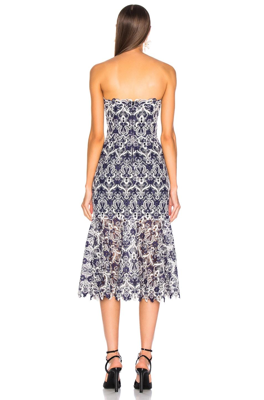 Image 4 of JONATHAN SIMKHAI Lace Bustier Midi Dress in Midnight Combo