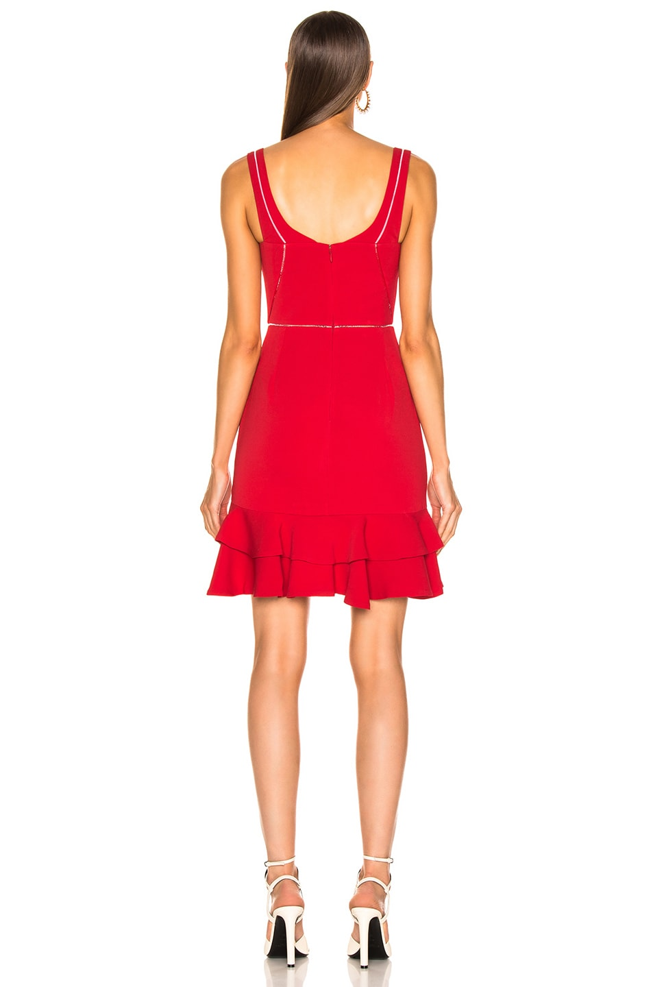 Image 3 of JONATHAN SIMKHAI Crepe Combo Mini Ruffle Dress in Fire Red
