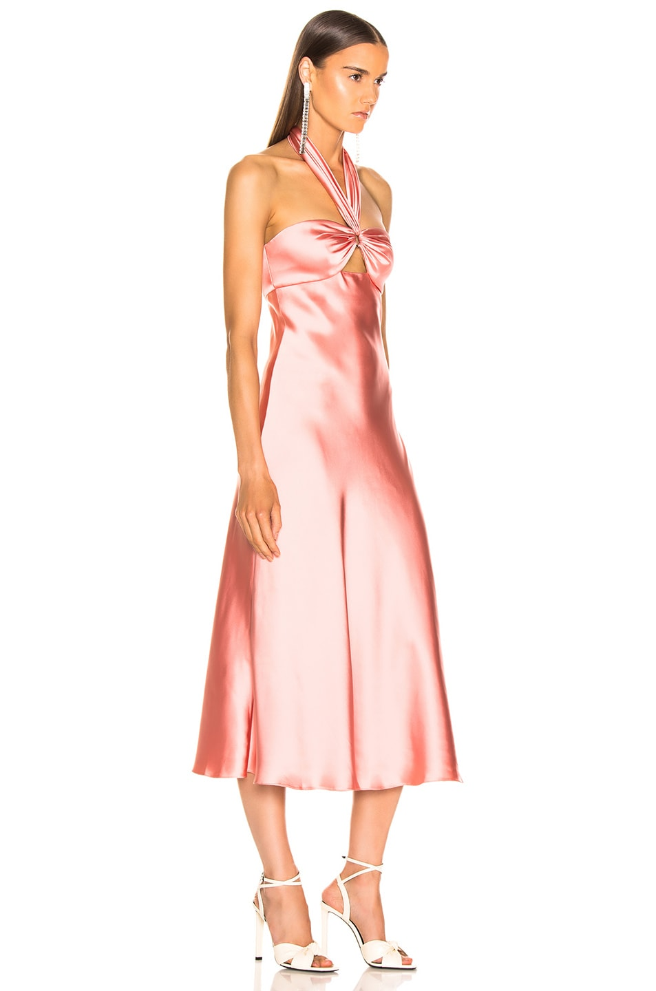 Image 2 of JONATHAN SIMKHAI Structured Sateen Halter Slip Dress in Rosette