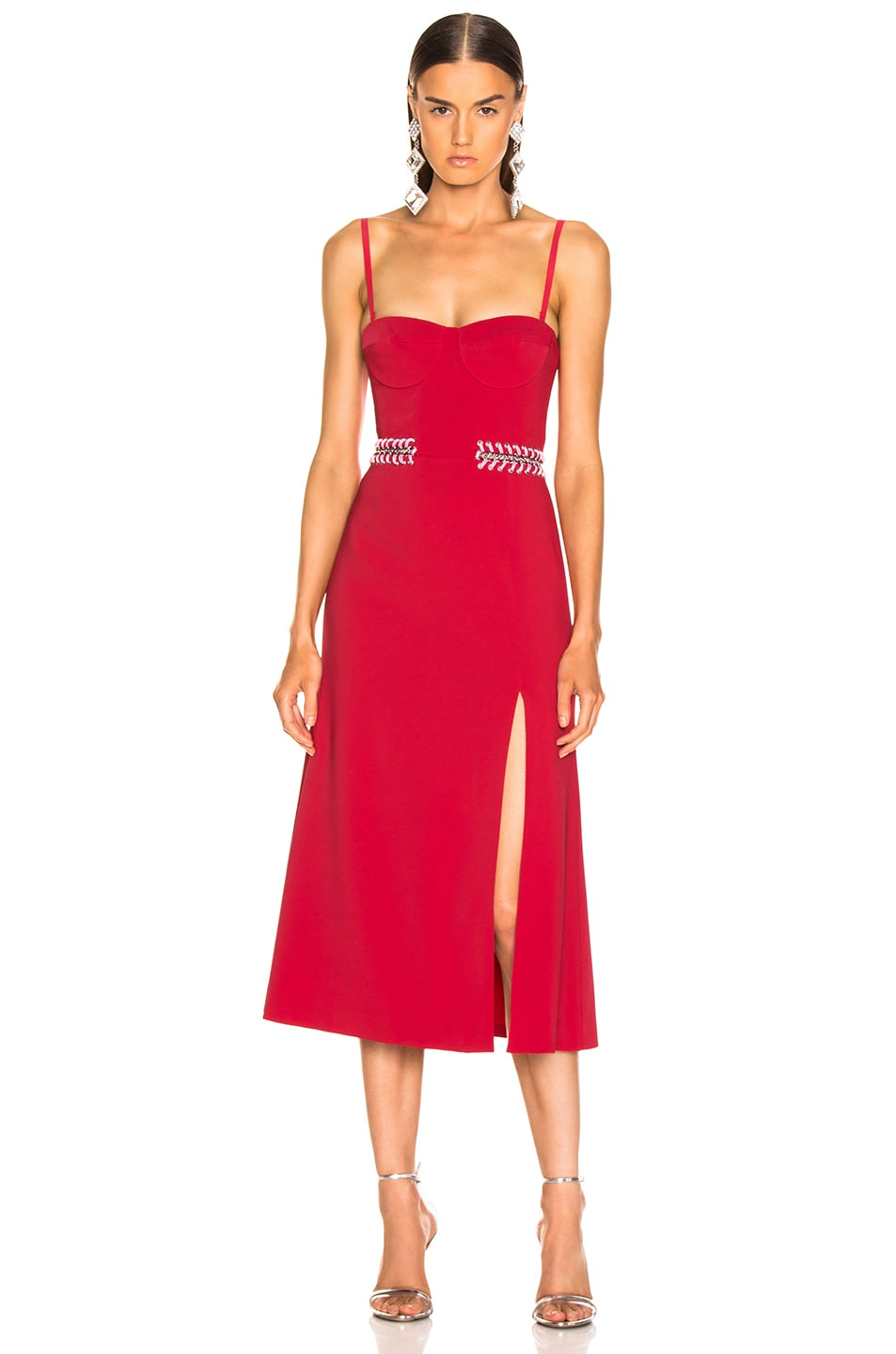Image 2 of JONATHAN SIMKHAI Chain Bustier Slit Dress in Fire Red & Hibiscus