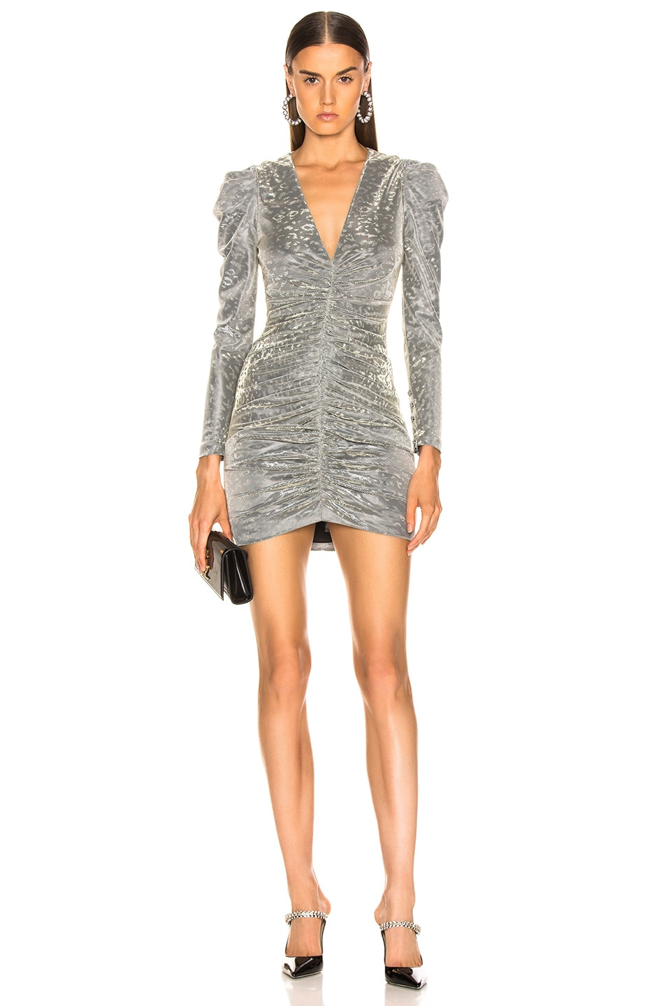 Image 1 of JONATHAN SIMKHAI for FWRD Long Sleeve Metallic Leopard Mini Dress in Silver