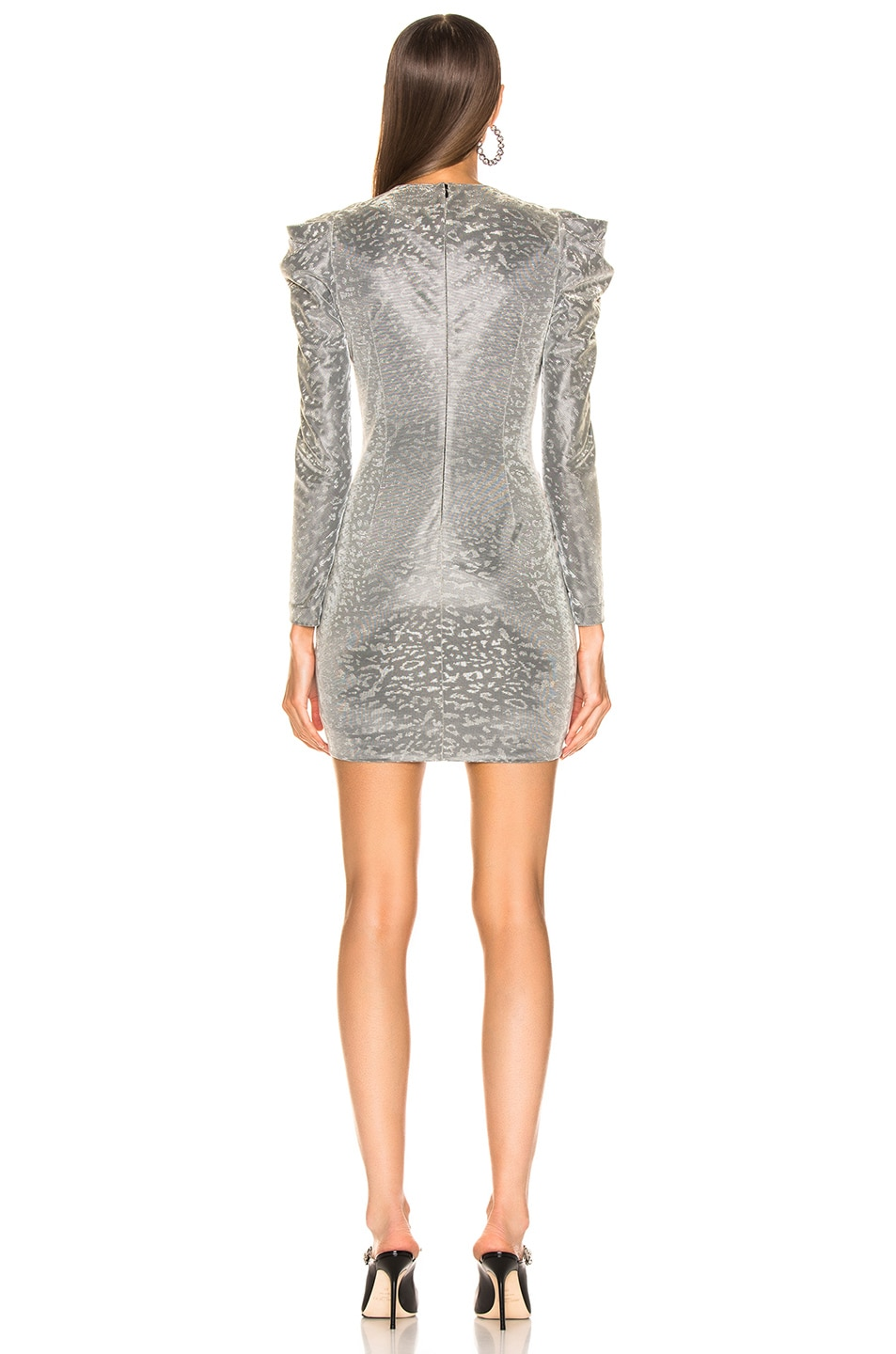 Image 3 of JONATHAN SIMKHAI for FWRD Long Sleeve Metallic Leopard Mini Dress in Silver