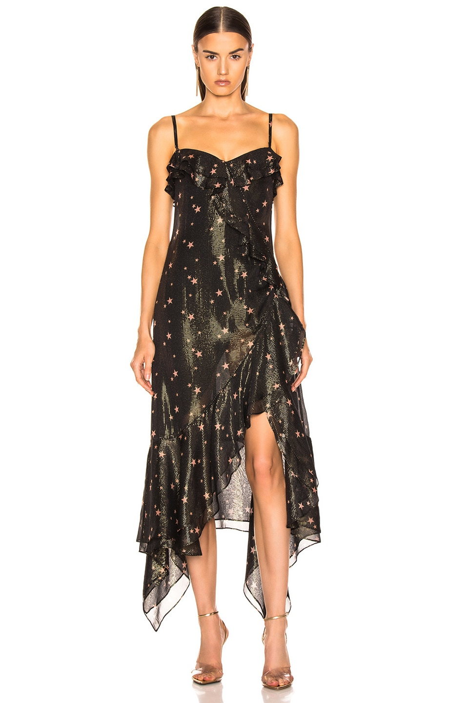 Image 2 of JONATHAN SIMKHAI for FWRD Strapless Ruffle Dress in Star Print