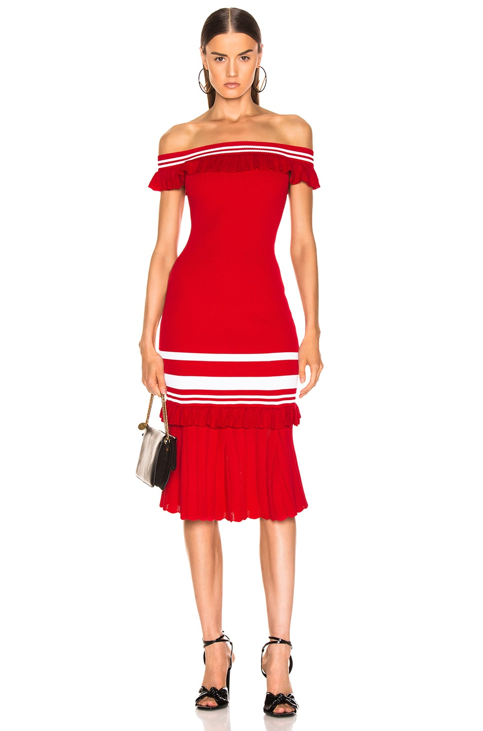 Image 1 of JONATHAN SIMKHAI for FWRD Off the Shoulder Knit Dress in Red & White