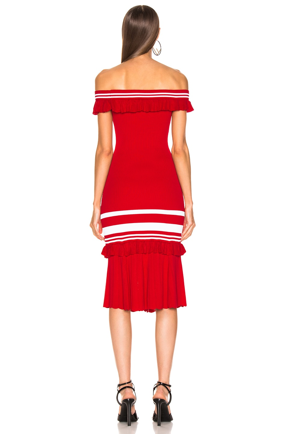 Image 3 of JONATHAN SIMKHAI for FWRD Off the Shoulder Knit Dress in Red & White